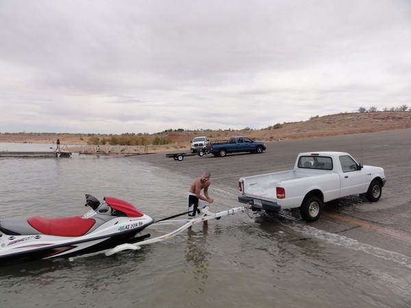 Mise à l'eau jet ski lac Powell