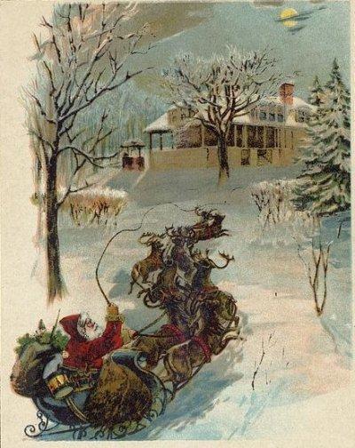 Santa Claus et ses rennes / Charles E. Graham & Co, circa 1870