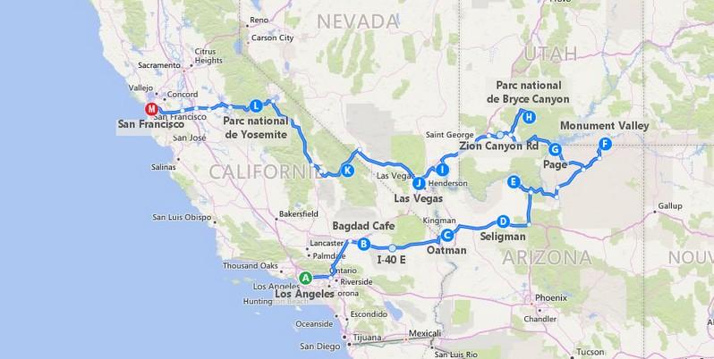 Plan itinéraire Go West