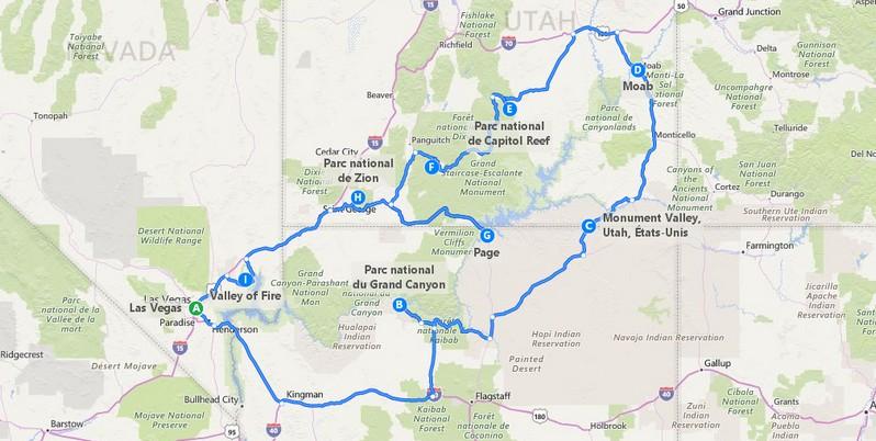Plan itinéraire Wild West Trip