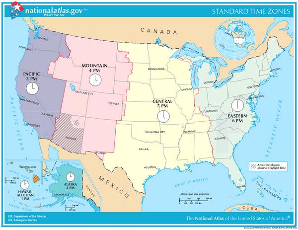 Carte fuseaux horaires USA