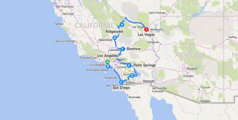 Plan itinéraire un hiver dans le désert Mojave