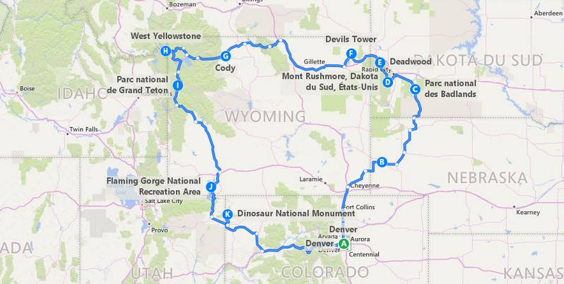 Plan itinéraire sur la piste des indiens des plaines