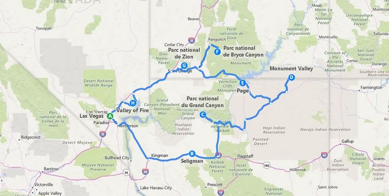 Road trip de 2 semaines depuis Las Vegas
