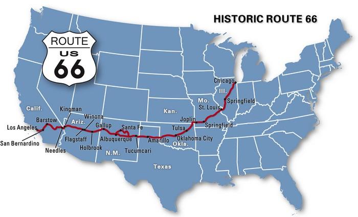 Carte Route Amerique.Route 66 Usa Villes Principales Carte Et Trace Sunset Bld