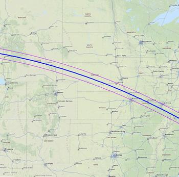 Carte USA éclipse solaire août 2017