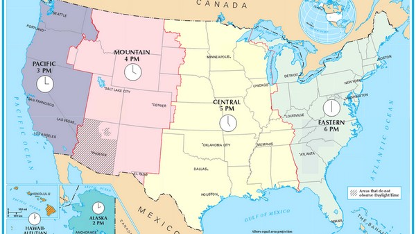 Fuseaux horaires USA