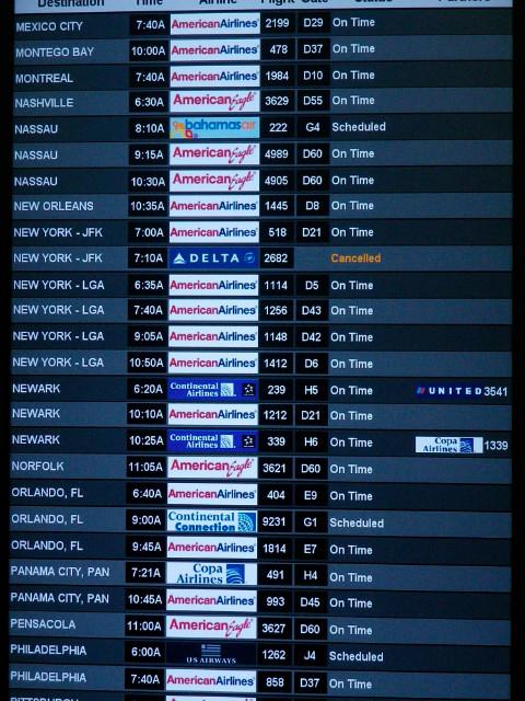 Ecran affichage vols aéroport