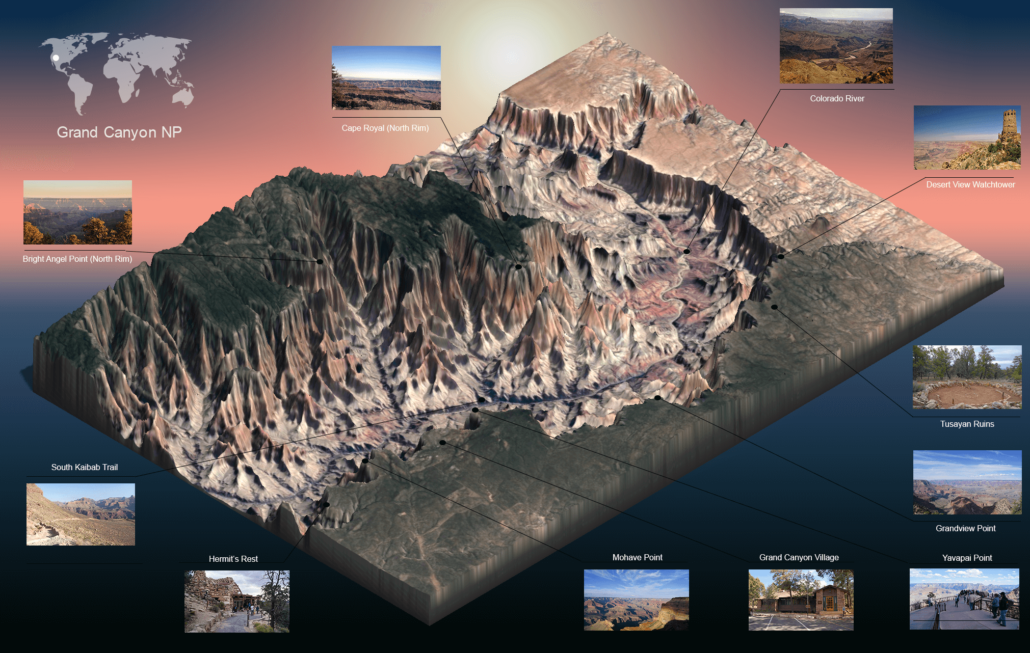 Carte 3D Grand Canyon Arizona