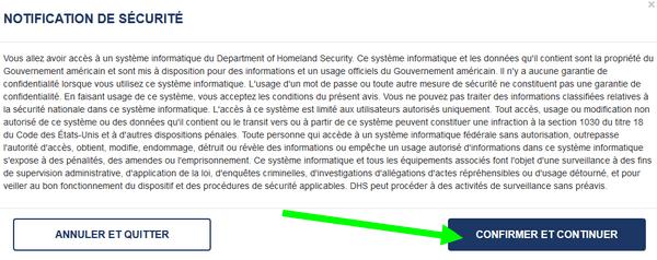ESTA notification de sécurité