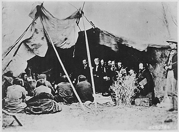 General William T. Sherman & Commissioners in Council with Indian Chiefs at Fort Laramie, Wyoming, ca. 1868