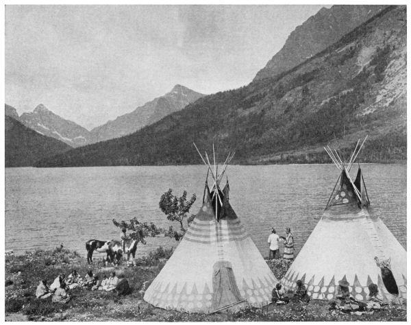 Camp near Lower End of Upper St. Mary's Lake - James Willard Schultz (1916)