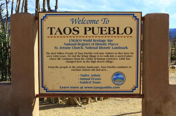 Panneau Taos Pueblo Nouveau-Mexique