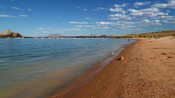 Plage de la Wahweap Marina Lac Powell