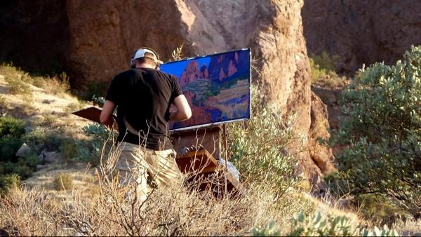 Peintre à l'œuvre sur le Prospector's View Trail