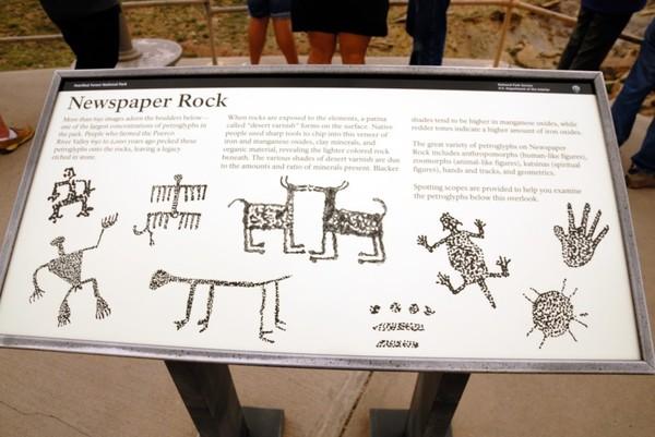 Panneau Newspaper Rock Petrified Forest National Park Arizona
