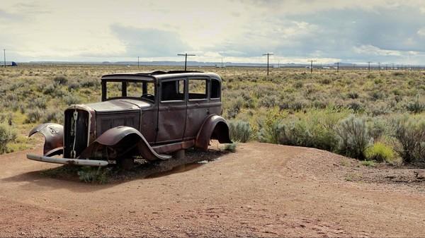 Sur l'ancien tracé de la Route 66 Petrified Forest Painted Desert Arizona