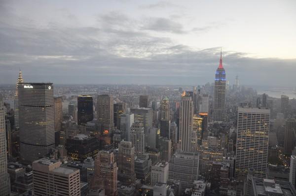 Manhattan à la tombée de la nuit depuis le Top of the Rock