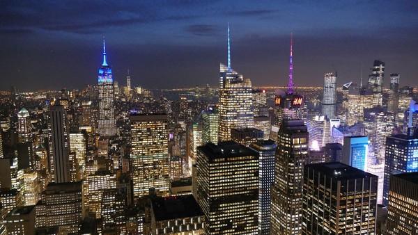 Manhattan de nuit vu depuis le Top of the Rock