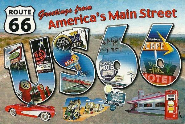 Route 66 Carte postale vintage