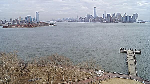 Vue sur Manhattan depuis le piédestal de la Statue de la Liberté