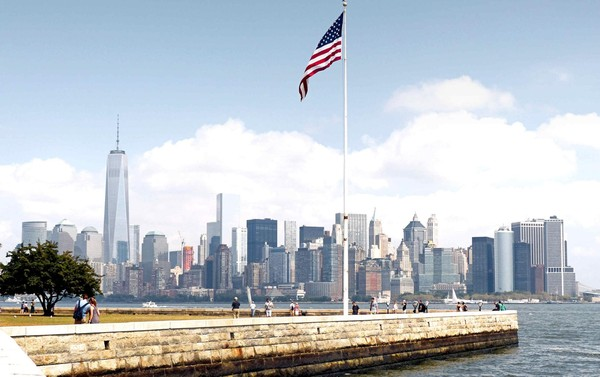 Vue sur Manhattan depuis Ellis Island