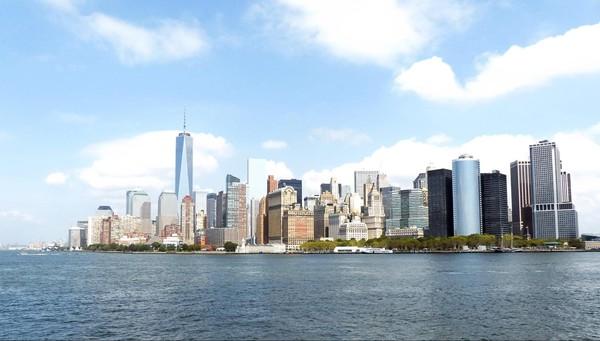 Vue sur Manhattan à bord du ferry retour