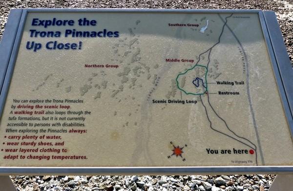 Plan exploration des Trona Pinnacles