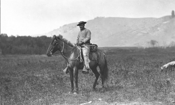 Clifford Negley in Yellowstone Park, during Hayden Geological Survey of the Territories, 1872