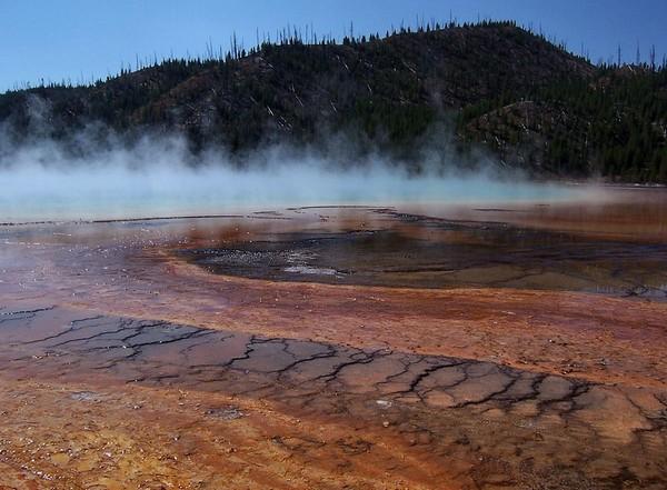 Vapeurs fantasmagoriques du Grand Prismatic Spring Yellowstone