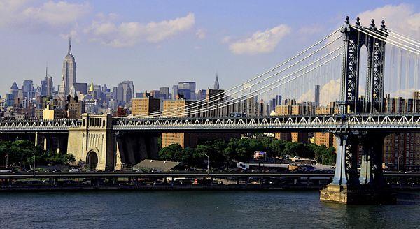 Manhattan Bridge depuis le Brooklyn Bridge New York