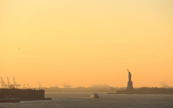 Crépuscule hivernal depuis la Brooklyn Heights Promenade New York