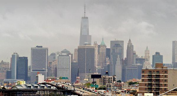 Vue sur Manhattan depuis le cimétière Green Wood New York