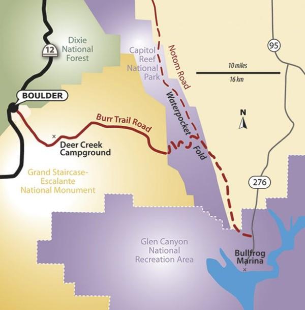 Plan schématique de la Burr Trail Road Utah