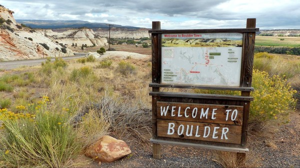 Panneau Welcome to Boulder Utah