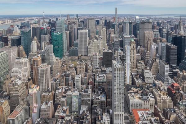Vue en direction du nord depuis la terrasse extérieure de l'Empire State Building