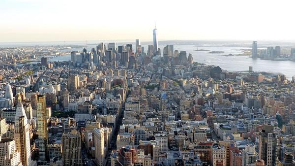 Pointe sud de Manhattan vue depuis la terrasse de l'Empire State Building