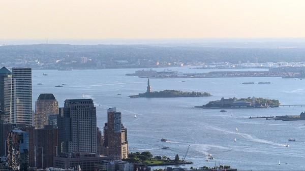 Statue de la Liberté vue depuis la terrasse de l'Empire State Building