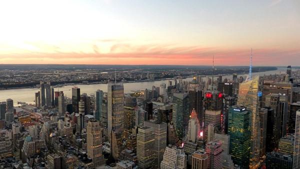 Vue depuis l'Empire State Building au crépuscule