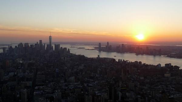 Vue depuis l'Empire State Building au coucher du soleil