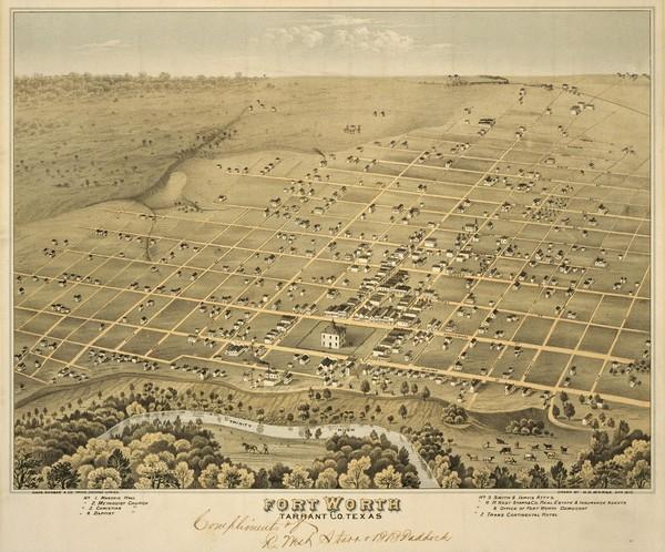 Carte de Fort Worth en 1876