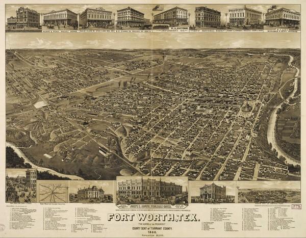 Carte de Fort Worth en 1886