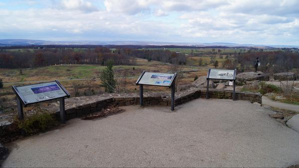 Vue depuis Little Round Top (arrêt n°8) National Military Park Gettysburg Pennsylvanie
