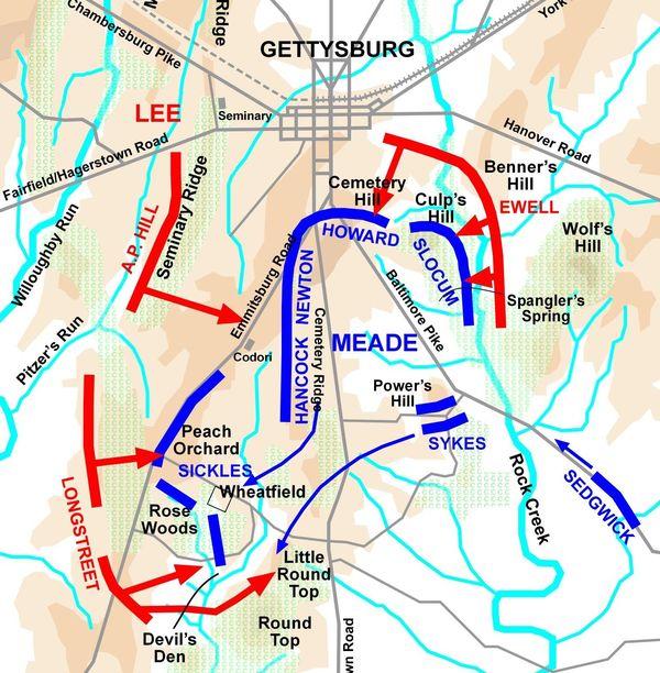 Plan bataille de Gettysburg Pennsylvanie