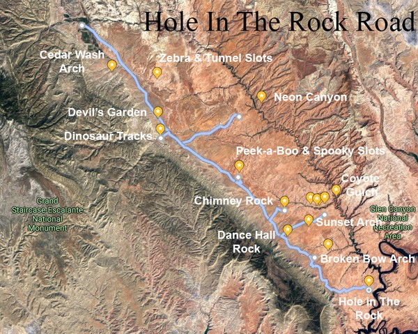 Plan de situation Hole in the Rock Road Utah