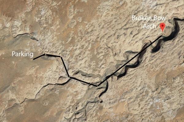 Plan de situation Broken Bow Arch Utah