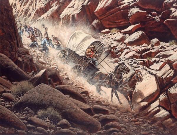 Passage du hole in the rock par les pionniers