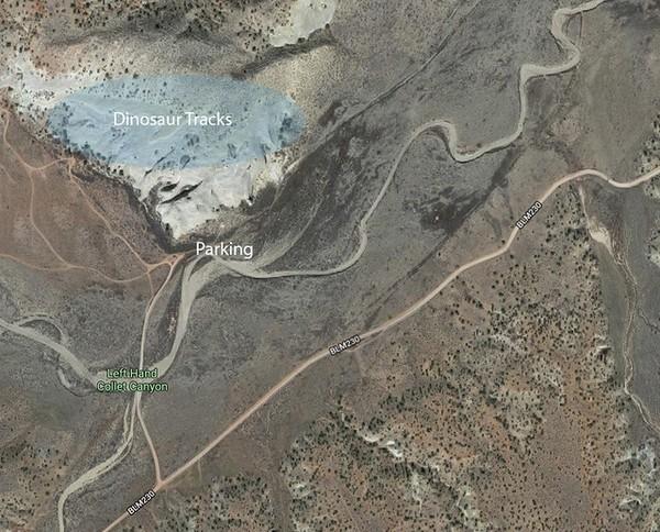Plan de situation Dinosaur Tracks Hole in the Rock Road Utah