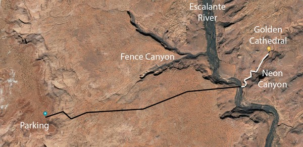 Plan de situation Out of Egypt Neon Canyon Hole in the Rock Road Utah