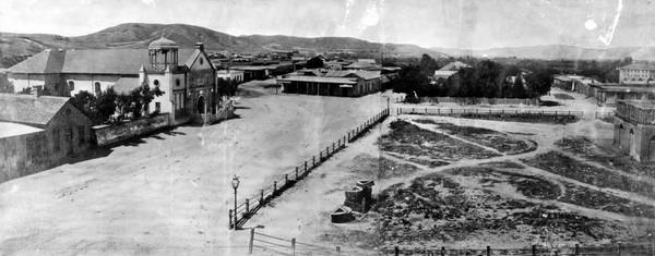 Plaza Church and La Plaza 1869